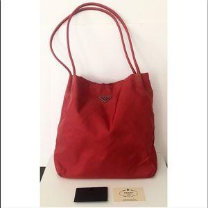 💯Authentic Prada Red Nylon Tessuto City Tote Bag